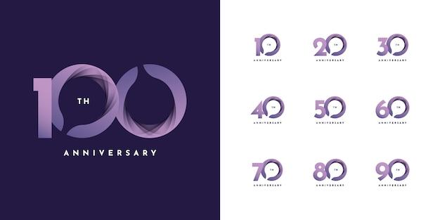 Wstążka z rocznicą od 10 do 100 lat