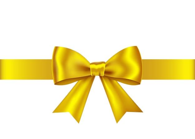 Wstążka złoty prezent i łuk na białym tle