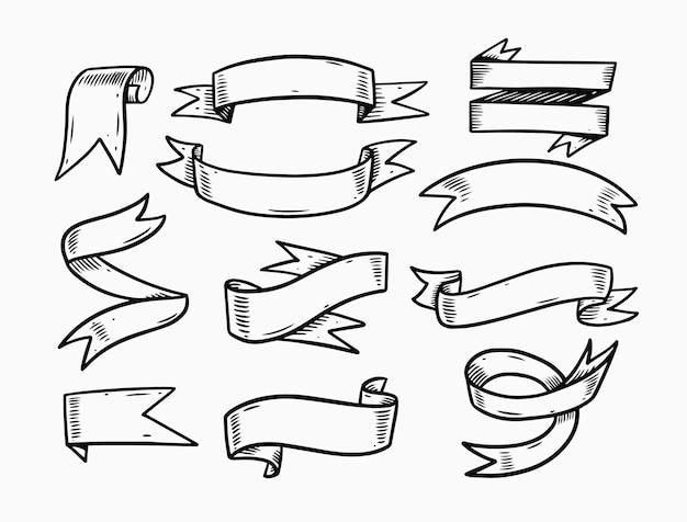 Wstążki doodle zestaw elementów ilustracji