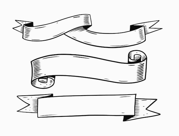 Wstążki doodle zestaw ilustracji