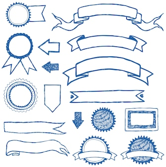 Wstążki i etykiety ustawione