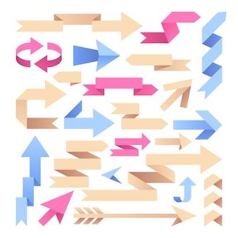 Wstążki strzałkowe. origami papierowe strzały. kolor vintage groty wektor zestaw. ilustracja wstążka strzałka