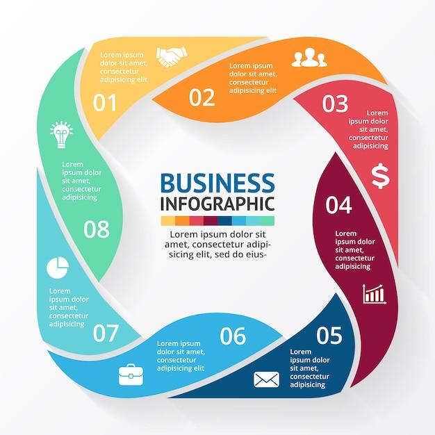 Wstążki wektor infografika szablon prezentacji koło diagram wykres 8 kroków części