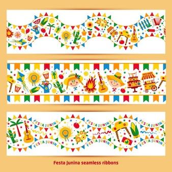 Wstęga festa junina wioski festiwalowej festa junina wsi festiwalu w układzie brasil banner