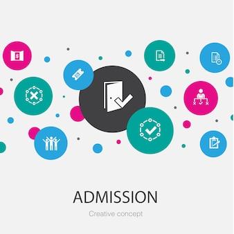 Wstęp modny szablon koło z prostymi ikonami. zawiera takie elementy jak bilet ss, zaakceptowany, otwarta rejestracja, wniosek