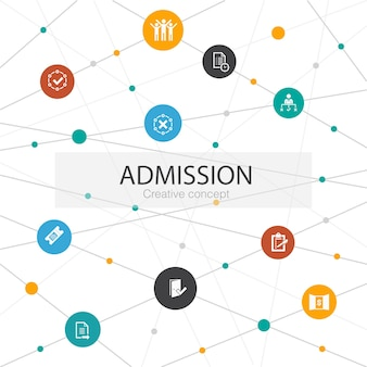 Wstęp modny szablon sieci web z prostymi ikonami. zawiera takie elementy jak bilet, zaakceptowany, otwarta rejestracja, wniosek