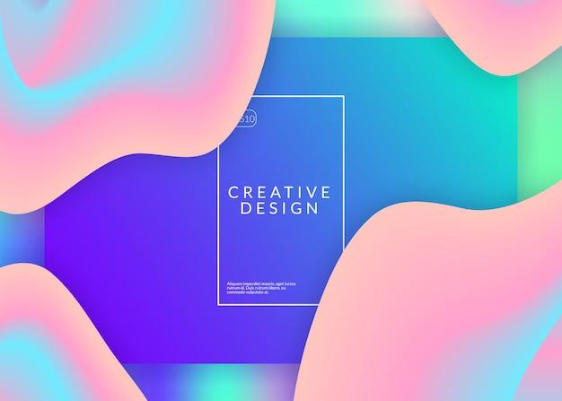 Wstęp. wibrująca strona internetowa, projekt interfejsu. żywa siatka gradientu. holograficzne tło 3d z nowoczesną modną mieszanką. strona docelowa z płynnymi elementami dynamicznymi i płynnymi kształtami.
