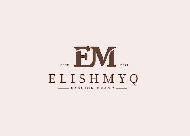 Wstępne ilustracje szablonu projektu logo litery em