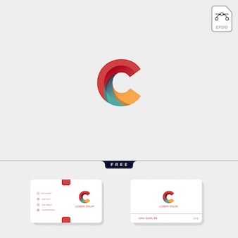 Wstępny szablon kreatywnego logo konspektu c, cc oraz szablon wizytówki zawiera