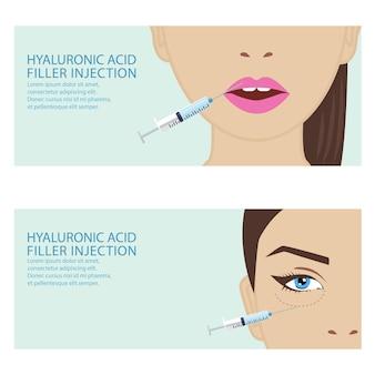 Wstrzyknięcie twarzy kwasu hialuronowego