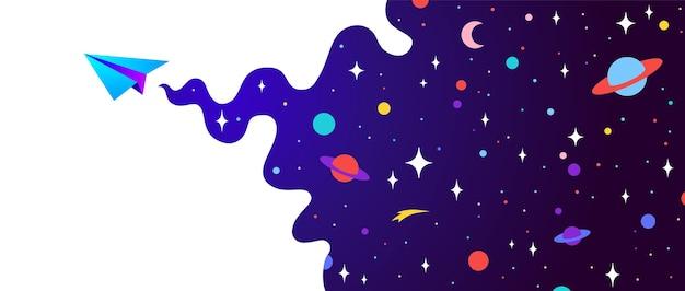 Wszechświat. baner motywacyjny z chmurą wszechświata, ciemnym kosmosem, planetą, gwiazdami i papierowym samolotem, symbol uruchamiania