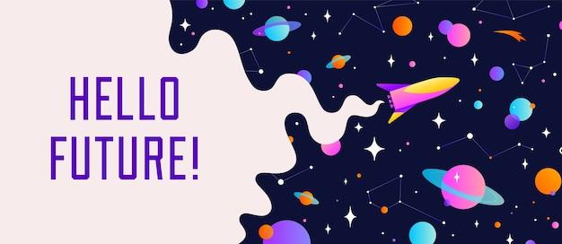 Wszechświat. baner motywacyjny z chmurą wszechświata, ciemnym kosmosem, planetą, gwiazdami i rakietowym statkiem kosmicznym.