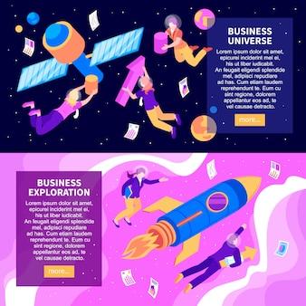 Wszechświat biznesu i eksploracja biznesu dwa abstrakcyjne poziome banery izometryczny