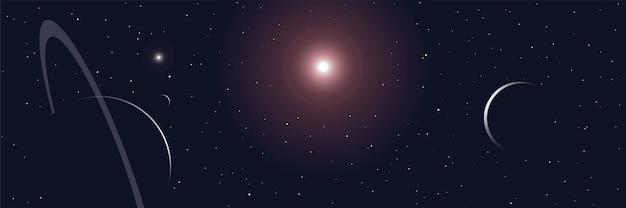 Wszechświat gwiazdy i planety panoramiczny baner sceny