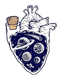 Wszechświat na mojej ilustracji serca