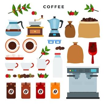 Wszystkie etapy na drodze od uprawy jagód kawy do zrobienia drinka
