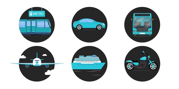 Wszystkie rodzaje transportu. metro lub metro, samochód, autobus, samolot, statek i motocykl