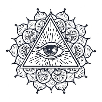 Wszystkie widzące oko w trójkącie i mandalu