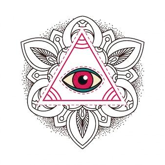 Wszystkie widzące symbol piramidy oka.