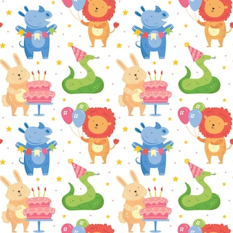Wszystkiego najlepszego bez szwu wzór słodkie zwierzęta świętujące razem królik nosorożec wąż lew