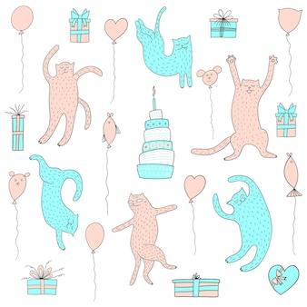 Wszystkiego najlepszego bezszwowe wzór z słodkie koty ciasto i balony przyjęcie urodzinowe