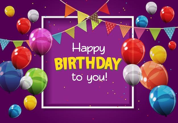 Wszystkiego najlepszego dla ciebie kartkę z życzeniami z kolorowymi błyszczącymi balonami
