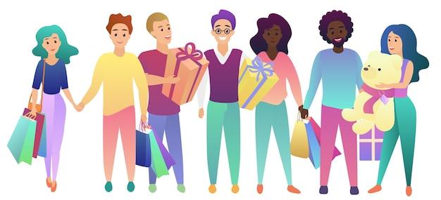 Wszystkiego najlepszego. grupa młodych ludzi z torby na zakupy i przedstawia zestaw prezentów