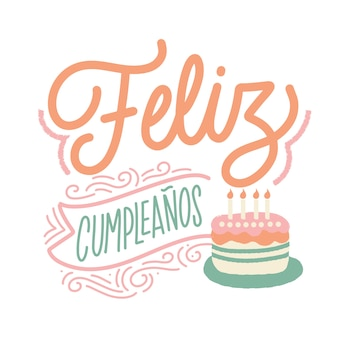 Wszystkiego najlepszego napis w języku hiszpańskim z ciastem