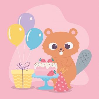 Wszystkiego najlepszego, słodki bóbr z czapką na przyjęcie z prezentem tort i balonami kreskówka dekoracja uroczystości
