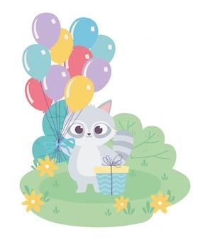Wszystkiego najlepszego, słodki szop pracz z bukietem balonów i kreskówka dekoracja uroczystości prezentu