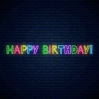 Wszystkiego najlepszego świecący neon ładny tekst. urodziny uroczystość symbol komiks napis w stylu neon.