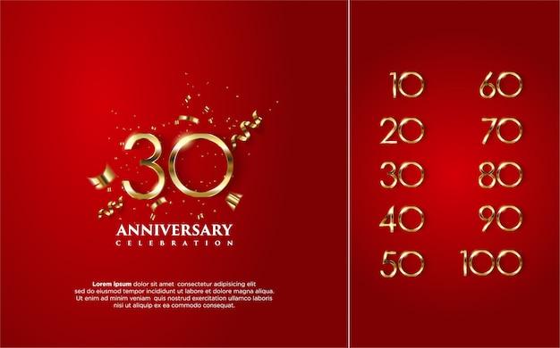 Wszystkiego najlepszego z okazji rocznicy w złocie z kilkoma liczbami od 10 do 100.