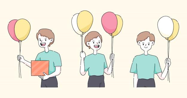 Wszystkiego najlepszego z okazji urodzin chłopiec trzyma balon śliczni ludzie ilustracyjni