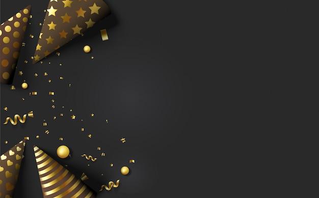 Wszystkiego najlepszego z okazji urodzin czarny i złoty kapelusz urodziny