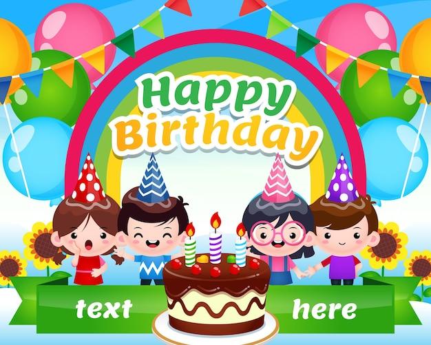 Wszystkiego najlepszego z okazji urodzin dzieci w rainbow sky garden