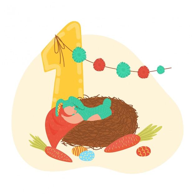 Wszystkiego najlepszego z okazji urodzin dziecko, liczba jeden roku balonu listowa dekoracja, zabawki i kołyska odizolowywający na białej kreskówki ilustraci ,.