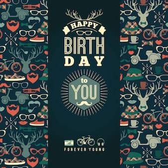 Wszystkiego najlepszego z okazji urodzin gratulacje, rocznika retro tło