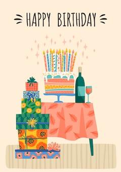 Wszystkiego najlepszego z okazji urodzin. ilustracja wektorowa słodkie pudełka na prezenty i ciasto.