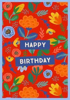 Wszystkiego najlepszego z okazji urodzin. ilustracja wektorowa z słodkie kwiaty.