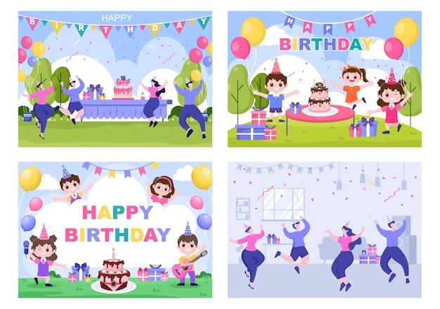 Wszystkiego najlepszego z okazji urodzin ilustracja z balonem, kapeluszami, konfetti, prezentem i projektem ciasta