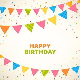 Wszystkiego najlepszego z okazji urodzin karta z kolorowymi flaga i confetti