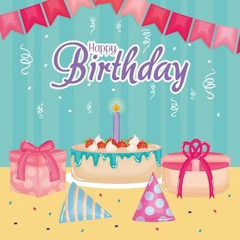 Wszystkiego najlepszego z okazji urodzin karta z prezentami i tortem