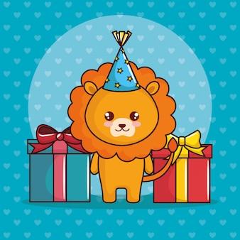 Wszystkiego najlepszego z okazji urodzin karta z ślicznym lwem