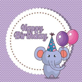 Wszystkiego najlepszego z okazji urodzin karta z ślicznym słoniem