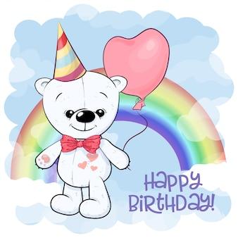 Wszystkiego najlepszego z okazji urodzin kartka z pozdrowieniami z ślicznym białym misiem na tle balon i tęcza. styl kreskówki.
