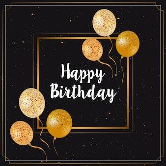 Wszystkiego najlepszego z okazji urodzin karty z balonów złoto świecidełka