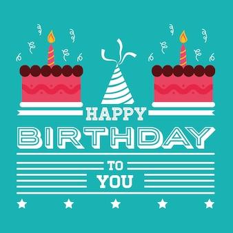 Wszystkiego najlepszego z okazji urodzin karty zaproszenie zasycha kapeluszowego zielonego tło