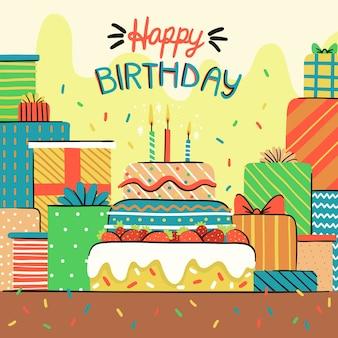Wszystkiego Najlepszego Z Okazji Urodzin Koncepcja Z Ciastem Darmowych Wektorów