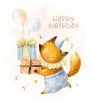 Wszystkiego najlepszego z okazji urodzin lis w czapce z pudełkami na prezenty i balonami powietrznymi