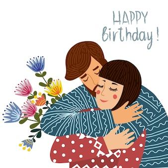 Wszystkiego najlepszego z okazji urodzin. mężczyzna całuje i gratuluje kobiecie, zakochana para. mieszkanie słodkie